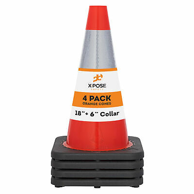 4 Of Orange Traffic Cones 18 Inch With 6 Collar Pvc Plastic Safety Cone