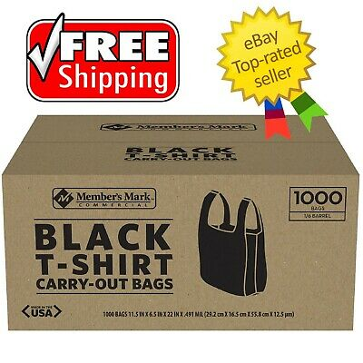 Members Mark Black T-shirt Carryout Bags 1000 Ct - Free Shipping