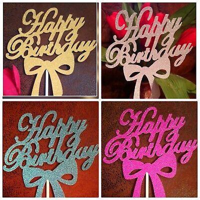Cake Topper Happy Birthday Geburtstag,Torten Stecker, Deko,lila,silber,blau,gold