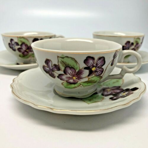 3 Sets Demitasse Cups & Saucers Violet Floral Design w/Gold Trim, 6 pieces total