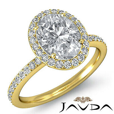2 ct Oval Diamond Vintage Engagement Halo Classic Ring H VS2 14k White Gold GIA 6