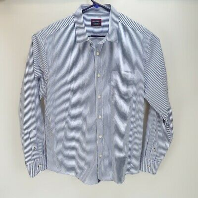 UNTUCKIT Mens Button Up Long Sleeve Shirt Stretch Blue White Striped Size