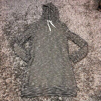Fabletics Yukon Hooded Sweater Dress sz M Black White Boucle