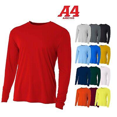 Sleeve Moisture Wicking T-shirt - A4 Men's Moisture Wicking Tech Long Sleeve Resistant T-Shirt. N3165 UPF 44+ UV