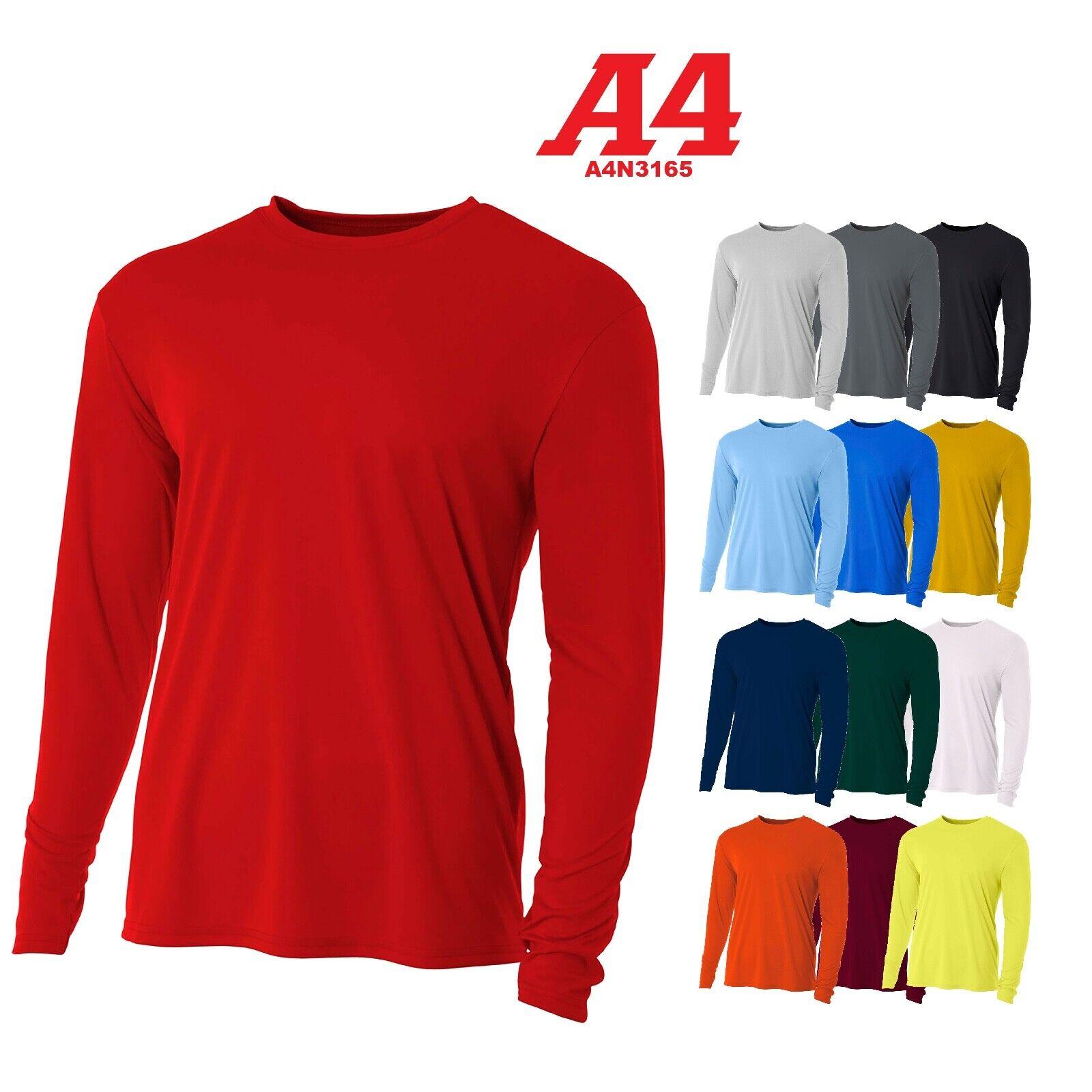 A4 Men's Moisture Wicking Tech Long Sleeve Resistant T-Shirt