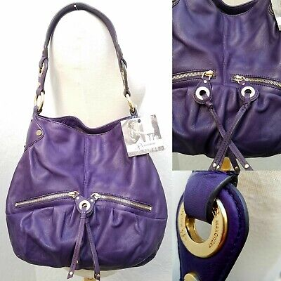 NEW! B. MAKOWSKY Women's Purple Leather Tote Shoulder Bag Handbag Org $ 298.00