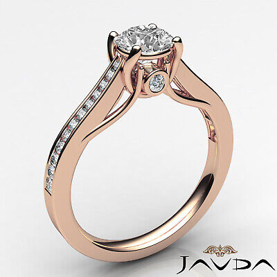 Channel Set Round Shape Diamond Engagement Ring GIA E VS2 18k Yellow Gold 0.8Ct 11