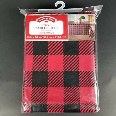 Red Plaid Tablecloth (Holiday Time Buffalo Plaid Vinyl 60