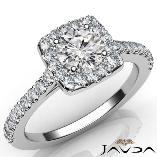 Excellent Round Diamond Engagement Halo Prong Ring GIA E VS2 14k White Gold 1ct