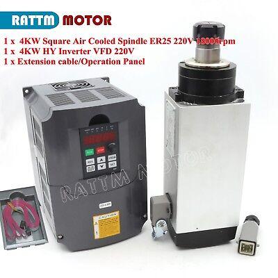 4kw 220v Air Cooling Spindle Motor Er25 300hz 18000rpm For Cnc Hy 4kw Inverter