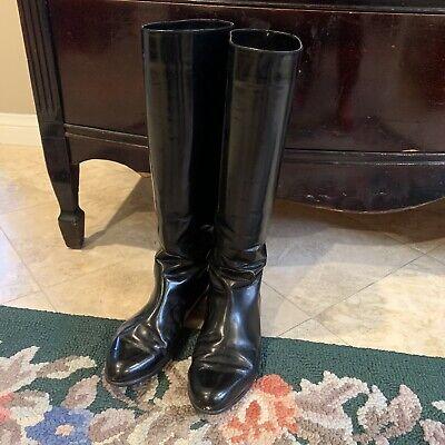 CHARTER CLUB Vintage Black Patent Leather Riding Boots Sz 7B Black Patent Riding Boot