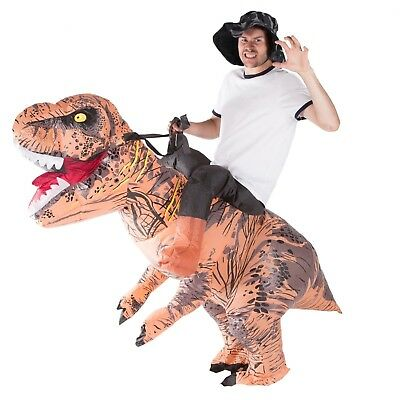 Adult Dinosaur Halloween Costume (Adult Deluxe Inflatable Dinosaur T Rex Costume Outfit Suit Halloween One)