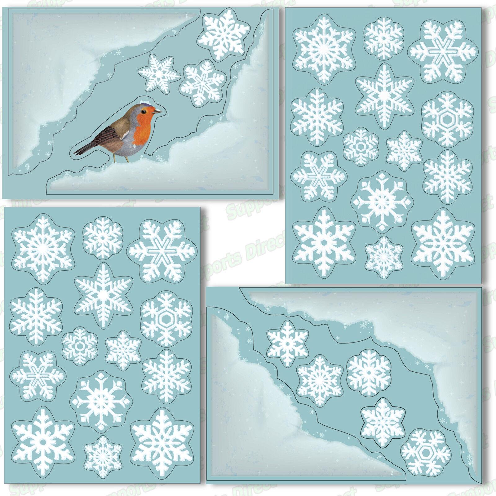 2 Star Snowflake Glitter Window Stickers Christmas Festive Decor Cling Frozen