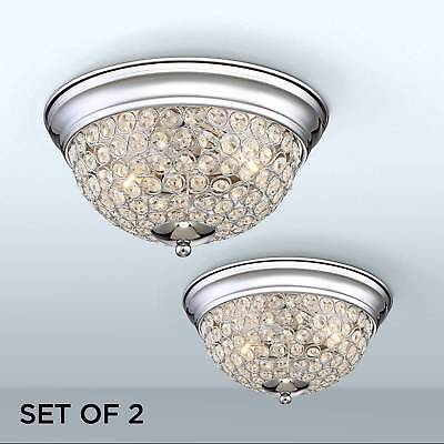 Ceiling Light Flush Mount Fixture Set of 2 Silver Crystal 11