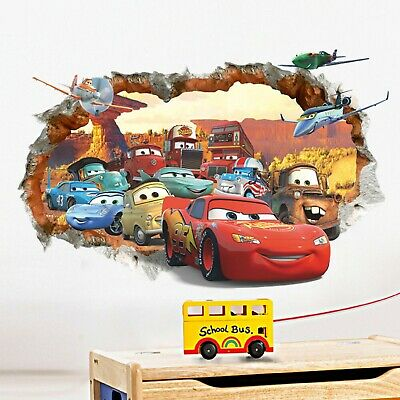 Wandtattoo Kinderzimmer Jungen Aufkleber Disney McQueen Cars Auto Deko Baby Bild