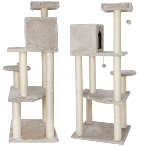 56″ Cat Tree Condo Pet Play House Furniture Activity Tower with Perches Beige Cat Supplies