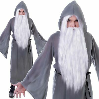 Mens Grey Wizard Cloak Fancy Dress Costume Gandalf Dumbledore Book Week Outfit