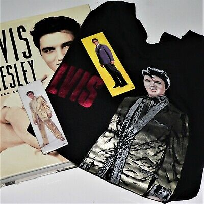 ELVIS PRESLEY - UNSEEN ARCHIVES - book & Elvis Gold lamè T-shirt Sz L& 2 -