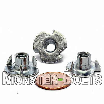 "1/4""-20 OAL - 3 Prong Tee Nut  CR+3 Zinc Plated Steel T-Nut  5/16"" or 7/16"""