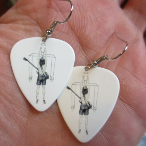 AC/DC (Rock Band) Earrings; Flick of the Switch; Guitar Pick Jewelry Silver Tone