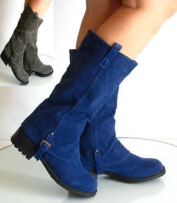New womens Low Flat Heel Mid-calf Riding Boots Bamboo Hazelnut-28 Grey Navy 5-10 (Womens Bamboo Riding Boots)