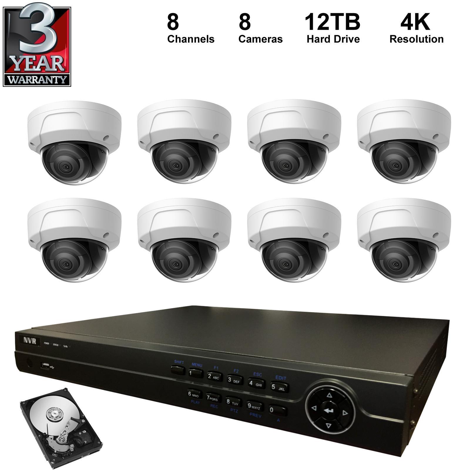 NVR Kit: 8 Channel NVR+12TB Hard Drive+4K Dome IP Camera , H