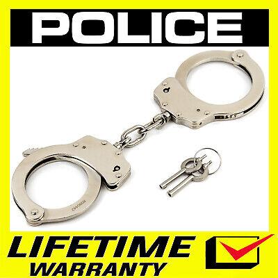 HANDCUFFS POLICE Professional Double Lock Heavy Duty Steel Metal - Silver