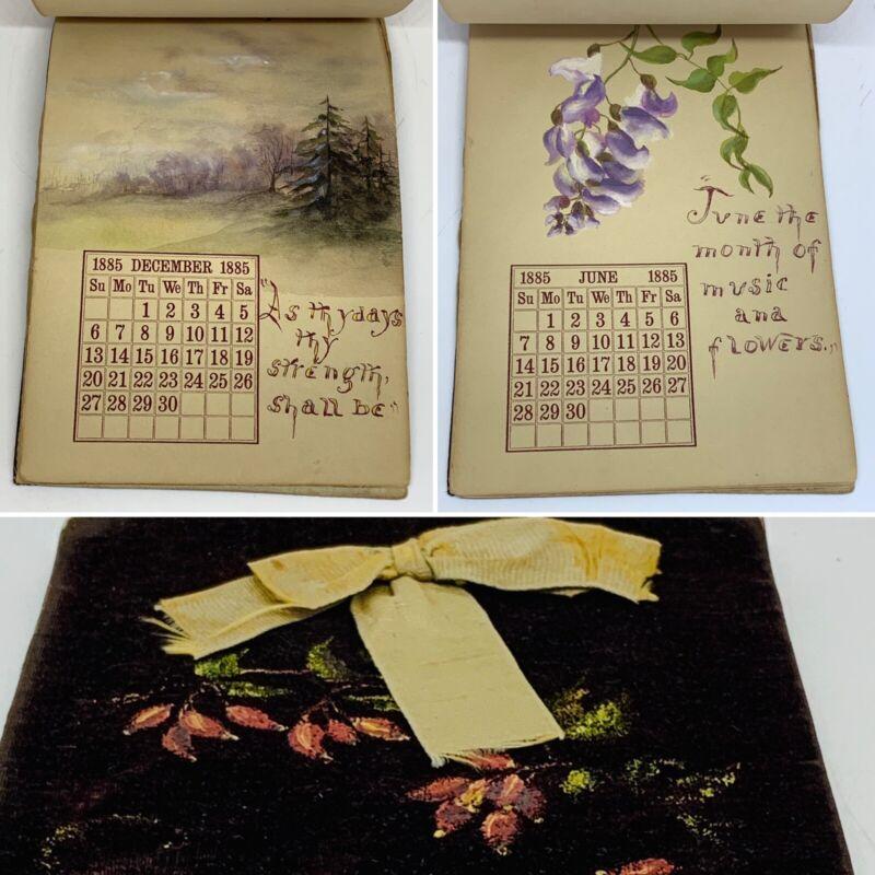 1885 Hand Illuminated Manuscript Antique Calendar With Original Art