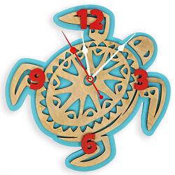 Hawaiian big sea turtle handcrafted wooden wall clock, nautical home decor