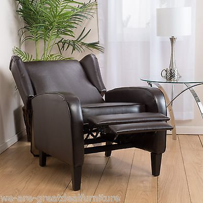 Living Room Devices Wingback Design Espresso Leather Club Chair Recliner