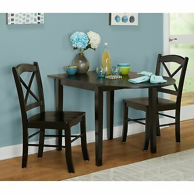 - Small Black 3 piece Country Cottage Dining Set Dinette Drop Leaf Table Chairs