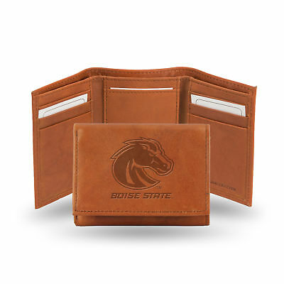 Boise State Broncos NCAA Team Logo Embossed Brown Leather Trifold Wallet Boise State Broncos Leather