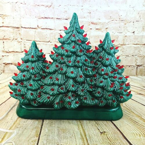 vtg holland mold ceramic christmas tree set of three together on base RARE 13.5""