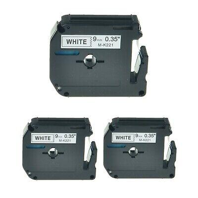 3pk Mk-221 Mk 221 Black On White Label Tape 9mm 0.35 For Brother Pt-60 90 110