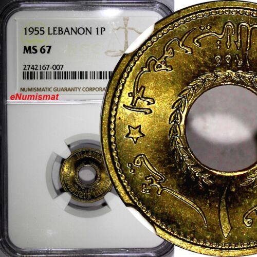 Lebanon 1955 1 Piastre NGC MS67 ONE YEAR TYPE TOP GRADED BY NGC KM# 19
