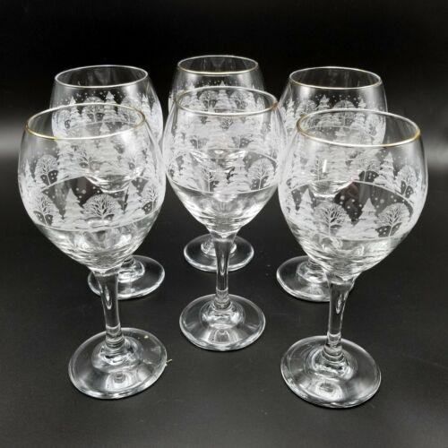 "Vintage Arbys Winter Pines Scene Wine Glasses Goblets Frosted Forest 8"" Set Of 6"