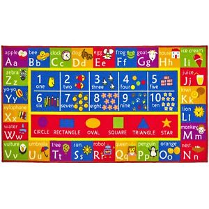 Kids Play Mat Alphabet Abc Numbers Shapes Educational Large Area Rug 32