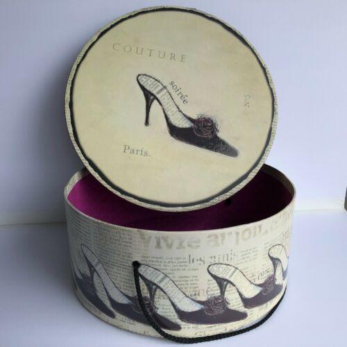 2003 Emily Adams Large Paris Hat Box with Shoe Motif and Black Velvet Trim