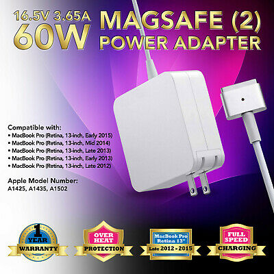 """60W Power Supply Charger Cord for Apple MacBook Pro 13"""" Retina A1435 A1425 A1502"""