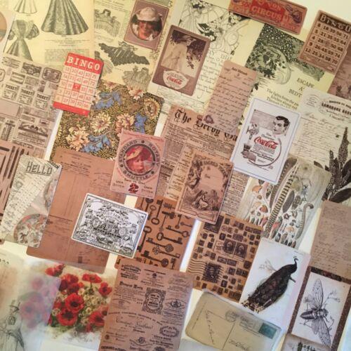 Junk Journal Collage Art Scrap Pack REPRO Ephemera Paper Piece Lot 50 Pieces