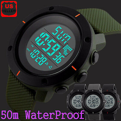 Fashion Men's Military LED Digital Date Countdown Timer Sport Quartz Wrist -