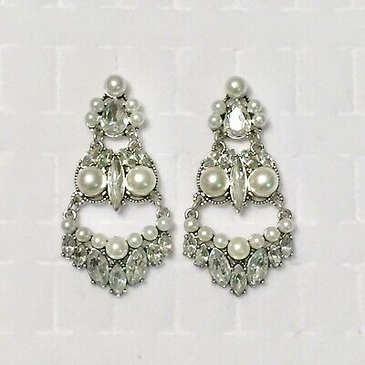 Faux Pearl Statement Earrings Rhinestone Art Deco Formal Silver Tone (Art Deco Rhinestone Earrings)