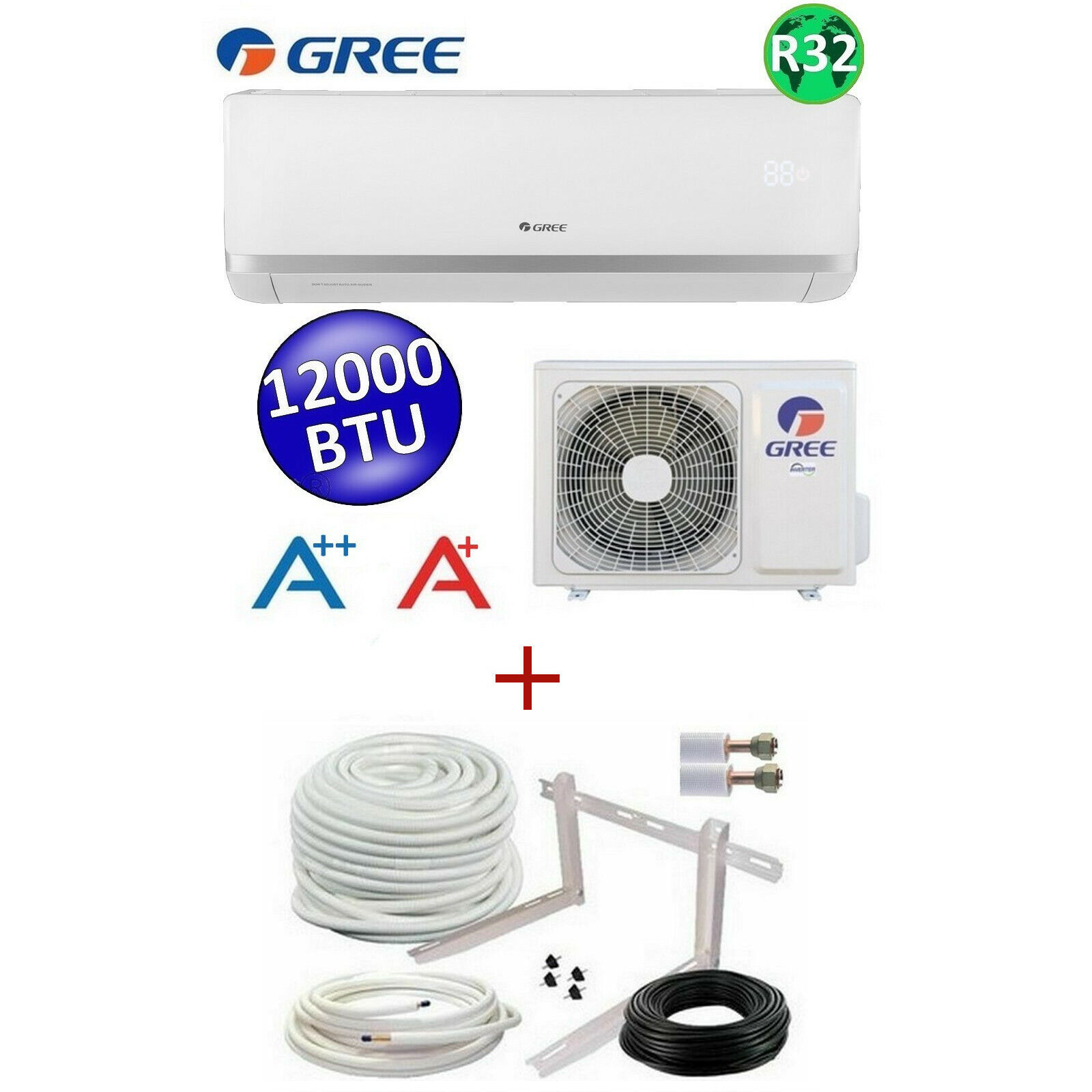 ***GREE BORA + KIT D'INSTALLATION*** / CLIMATISEUR REVERSIBLE / A++ / 12000 BTU