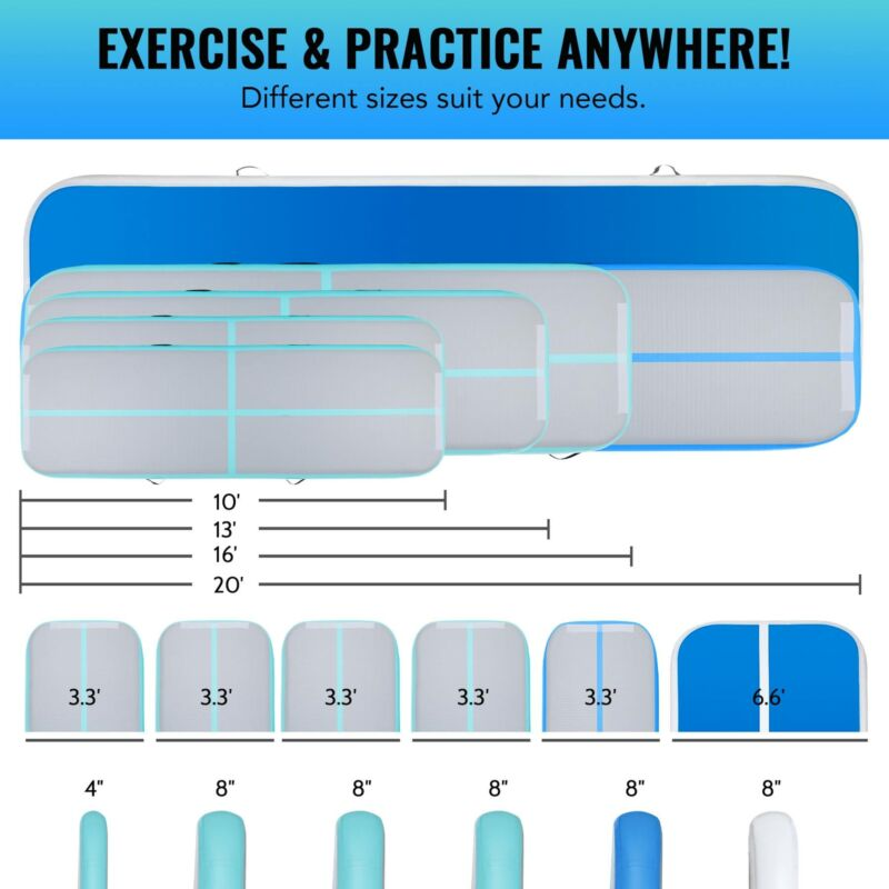 Inflatable Tumbling Mat Air Floor Track Board w/ Electric Air Pump