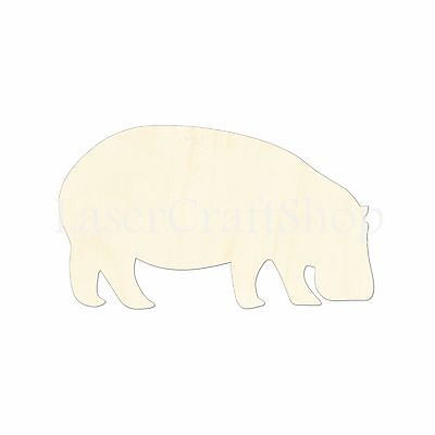 Safari Animal, Hippo, Wooden Cutout Shape, Tags Ornaments Laser Cut #1014](Wooden Animal Cutouts)