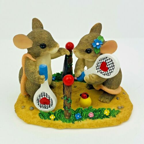 """Fitz Floyd Charming Tails Two Love Tennis Mouse Limited Edition 87/807 3"""""""