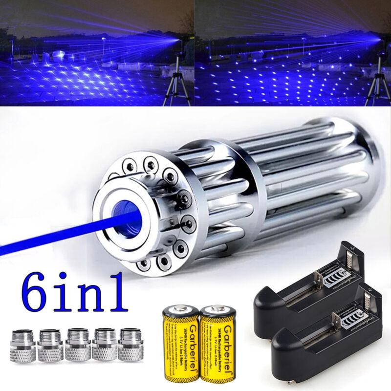 1000mile 405nm Blue Laser Pointer Visible Beam Light Laser Flashlight w/ 5 Caps