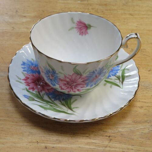 CORNFLOWER TEA CUP & SAUCER BONE CHINA MADE IN ENGLAND