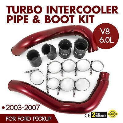 Turbo Intercooler Pipe Boot Kit Red For 03-07 Ford F350 6.0L Powerstroke Diesel