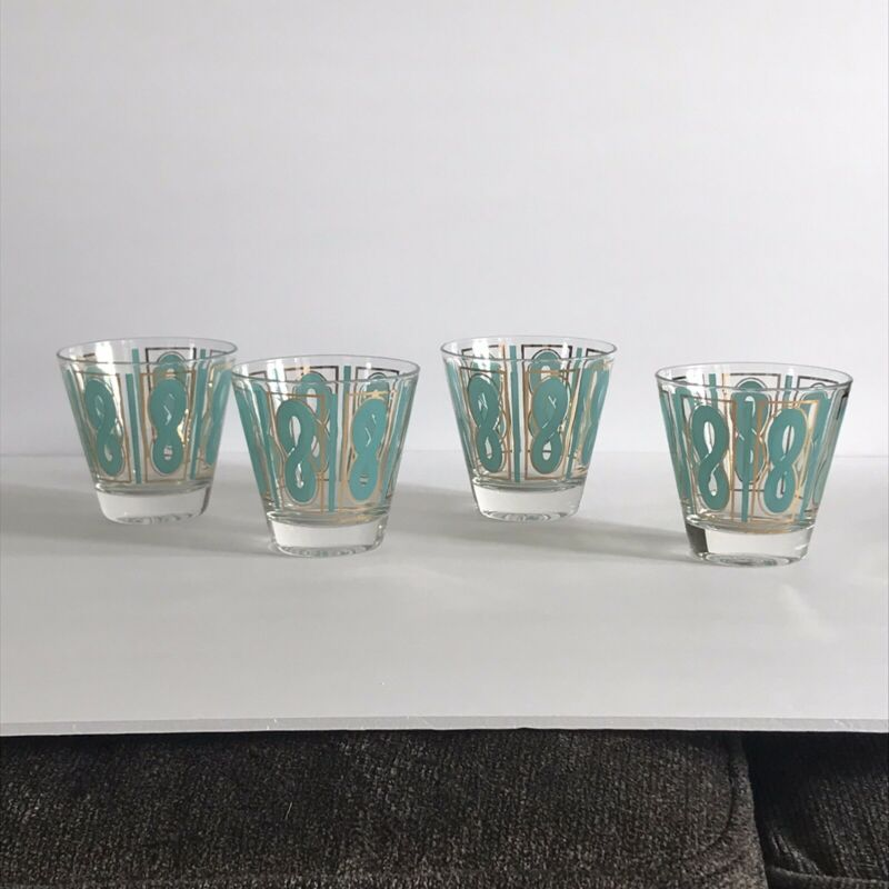 "Set of 4 ""Fred Press"" Vintage Rocks glasses - turquoise and gold Rope Pattern"